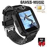 Kids Games Music Camera Smartwatch Phone for Girls Boys Birthday with SOS Call Alarm,1.54 inch Touch Screen Fits for 3-12 Children with SIM Card and 1GB SD Card