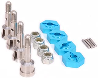 RC Car 1/18 Turn to 1/10 7mm to 12mm Aluminum Wheel Hex Hub Convert Adapter & Axle Shaft & Locknuts for Wltoys A959 A969 A979 K929 Upgrade Parts 4-Pack(Blue)