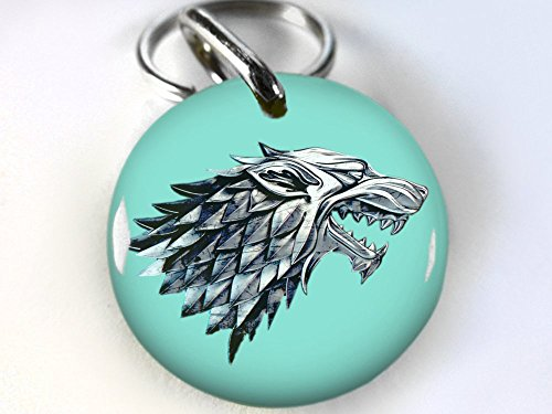 "Custom pet ID Tag Dog cat pet tag Game of Thrones Aqua Stark Wolf DBL (Medium 1.25"")"