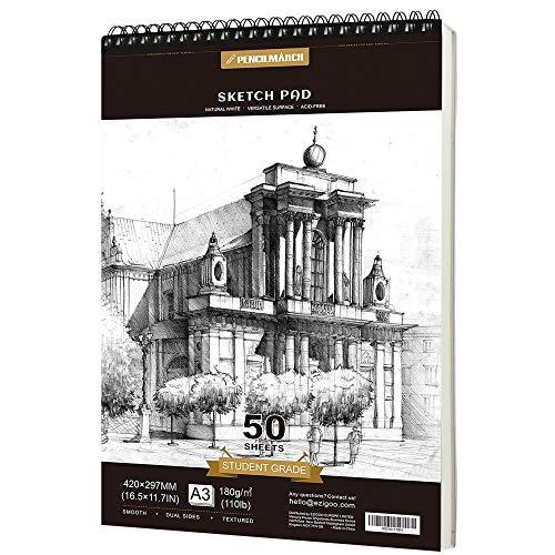 PENCILMARCH Spiralgebundener Skizzenblock,Sketchbook, A3 180 g/m² 50 Blätter. Zeichenpapier für Künstler. Ideal für das Atelier, die Schule oder zu Hause