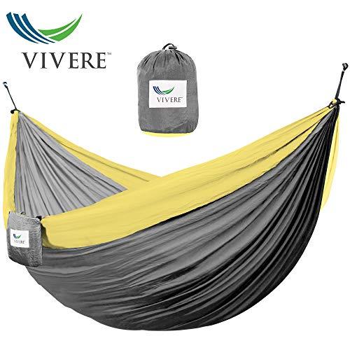 Vivere PAR251 Hängematte Nylon Doppel, Grau/Gelb