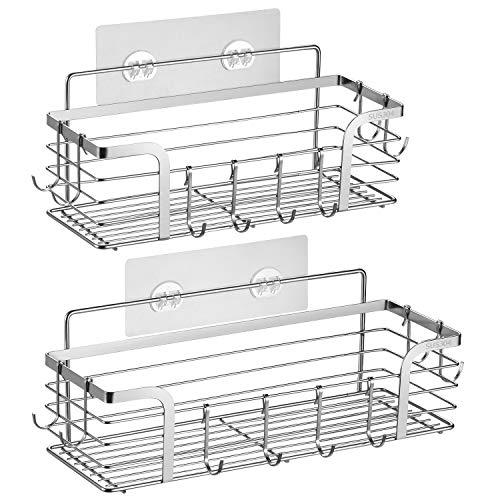 ivkey Shower Caddy Basket Shelf with Hooks for Hanging Sponge and Razor,Shampoo Holder Organizer,No Drilling Adhesive Wall Mounted Bathroom Shelf,Rustproof SUS304 Stainless Steel (2 Pack)
