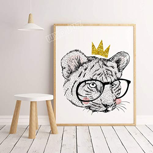 SDFSD Acquerello Astratto Stile Nordico Colorato Leone Tigre Gatto Animale Selvatico Decorazioni per la casa Camera dei Bambini Wall Art Poster Tela Pittura 30 * 40cm