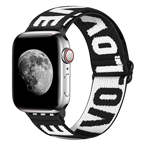 XFYELE Nylon Elastic Watch Band Compatible with Apple Watch 38mm 40mm, Soft Adjustable Stretchy Bracelet Replacement Wristbands for iWatch Series SE/6/5/4/3/2/1 (LOVE, 38mm/40mm)