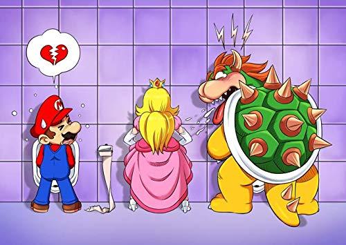 Okiwoki T-Shirt Noir Super Mario parodique Super Mario, Princesse Peach et Bowser : Un Coeur brisé ! (Parodie Super Mario)