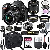 Nikon D3500 DSLR Camera with 18-55mm VR Lens + 128GB Card, Tripod, Flash, and More (20pc Bundle)
