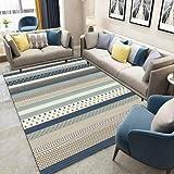 Happves Alfombra de diseño para el hogar Modelo de Rayas con Corte de Contorno Líneas geométricas Coloridas Modernas de área Mediana Alfombra de Piso Chindi de algodón Multicolor -200x200cm