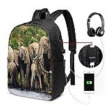 WEQDUJG Mochila Portatil 17 Pulgadas Mochila Hombre Mujer con Puerto USB, Manada de Elefantes 1 Mochila para El Laptop para Ordenador del Trabajo Viaje
