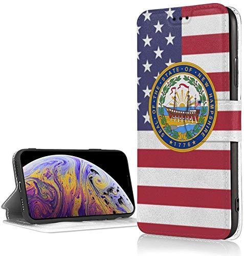 BONRI Estuche Seal of North Carolina para iPhone XR Estuche con Billetera de Cuero PU de Lujo Funda con Tapa Tipo Folio con Ranuras para Tarjetas Correa para la muñeca-Negro19-Talla única