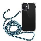 MyGadget Funda con Cuerda para Apple iPhone 12 Mini - Carcasa Transparente en Silicona TPU Suave con Cordón - Case y Correa Colgante Ajustable - Azul