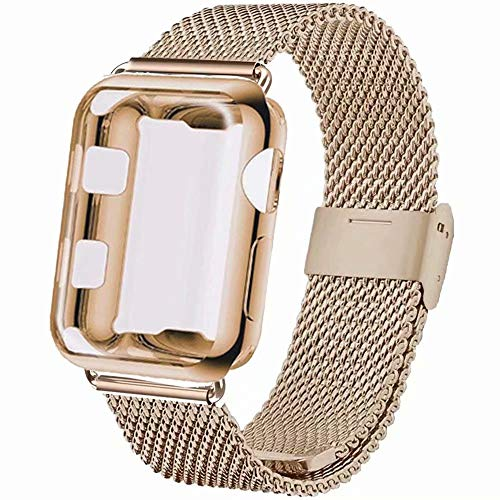 INZAKI Correa con Funda para Apple Watch 40mm, Malla de Acero Inoxidab