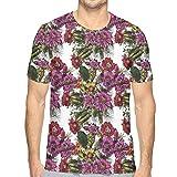 JJIAYI Mens 3D Printed T Shirts,Hand Drawn Active Nature Design Watercolor Effect Detailed Sketch Floral Arrangement L
