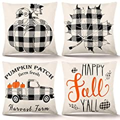 Packing: 4pcs fall throw pillow covers, no inserts or fillers, with single-sided printing. Material: cotton linen Size: 18 x 18 inches (45 x 45 cm); due to manual measurement and cutting, 1-2 cm error may occur. Design: Designed for fall decoration. ...