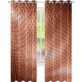 jinguizi Cortina de ventana drapeada abstracta peine patrón ondas W52 x L72 cortinas opacas para dormitorio de los niños