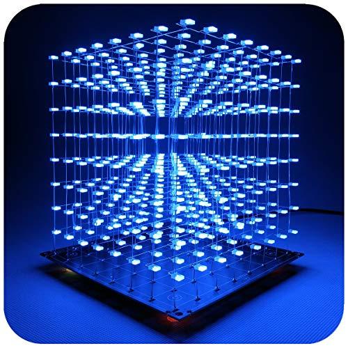 iCubeSmart 3D LED Cube Bausatz Diy Kit LED Licht Cube Diy Elektronik 8x8x8 Wuerfel Bausatz Für Elektronik-labor Kreative Geschenke Enthusiasten Der Elektronik Elektronische Kursgestaltung (3D8S-BLUE)