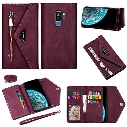 Vepbk Brieftasche Hülle für Samsung Galaxy S9 Plus [nicht für S9] Handyhülle, Handytasche Case Leder Geldbörse mit Reißverschluss Kartenfach Umhängeband Cover Klapphülle für Galaxy S9 Plus,Weinrot