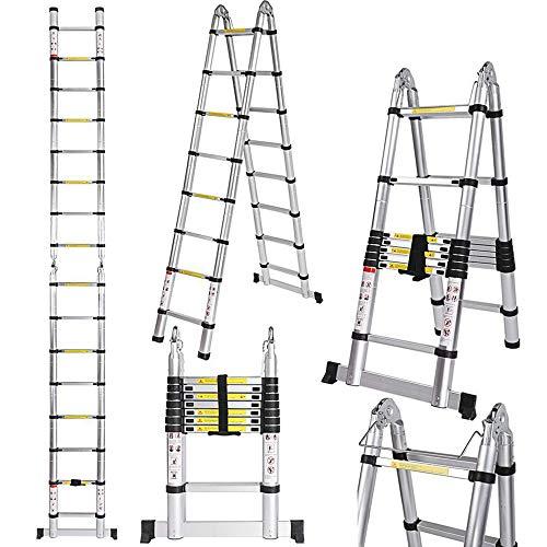 Escalera Telescópica Multifuncional Plegable Portátil de Aleación de Aluminio 5M (2.5 + 2.5) Carga Máxima 150KG