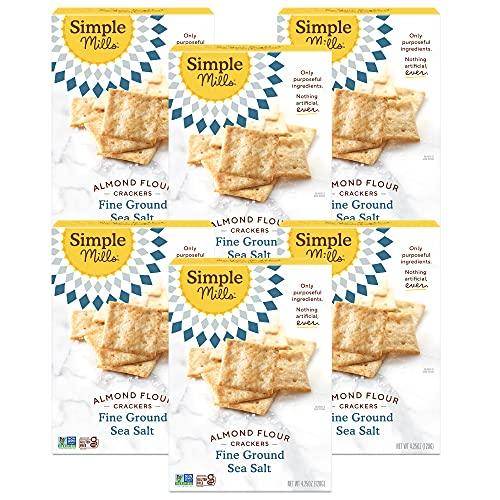 Simple Mills Almond Flour Crackers, Fine Ground Sea Salt, Gluten Free, Flax Seed, Sunflower Seeds, Corn Free, Good for Snacks, Made with whole foods, Pack of 6 (Packaging May Vary)