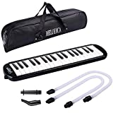 CAHAYA Melodica 37 Keys Melodicas with Long Pipe Short Mouthpiece and Carrying Bag for Children Student, Black