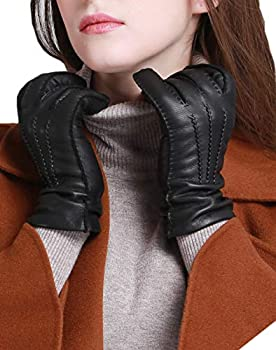 YISEVEN Women s Cashmere Lined Deerskin Leather Gloves Handsewn Classical Three Points and Long Cuff for Winter Hand Warm Fur Heated Dress Driving Motorcycle Luxury Gifts Black 9.0 /XXXL