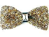 47IVYWOOD Premium Pre-tied Rhinestone Gold Bow Tie for Men, Women, Boys, Girls (gold)