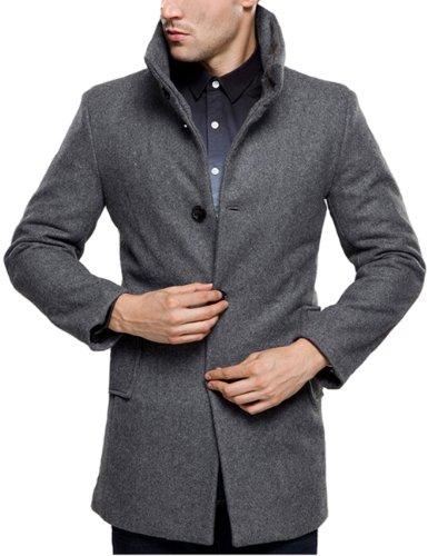 SSLR Herren Wintermantel Wolle Slim Fit mit Stehkragen Einreiher Business Freizeit Winter Mantel Übergangsmantel (Small, Grau)