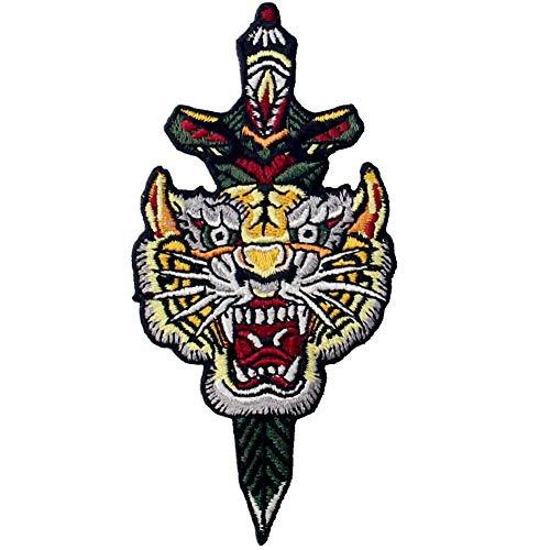 Parche termoadhesivo para la ropa, diseño de Tigre y daga