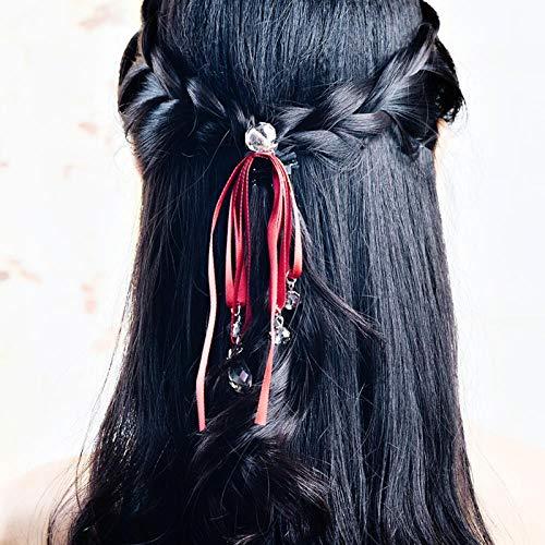 Bande de cheveux mignons tête corde bande élastique étui à cheveux accessoires long ruban cheveux corde femelle, cristal noeud noeud vin rouge