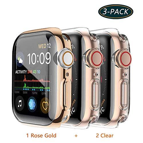 Jvchengxi Compatible for Apple Watch Series 3 42mm Pellicola Custodia, Piena Copertura Protezione Schermo TPU per Apple Watch Smartwatch(42mm, Oro Rosa/Trasparente/Trasparente)