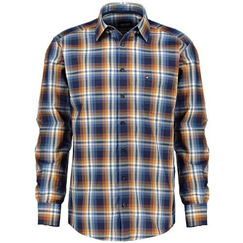 Jupiter Hemd Übergrößen Herren Kariertes Freizeithemd mit Brusttasche, Langarm Curry_557 6XL