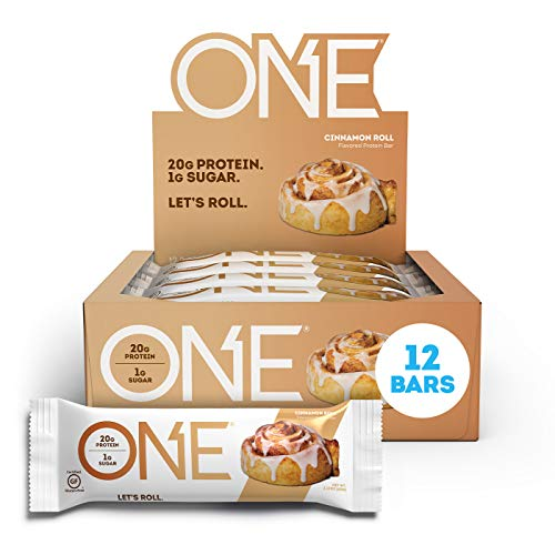 ONE Protein Bars, Cinnamon Roll, Gluten Free Protein Bars with 20g Protein and Only 1g Sugar, Guilt-Free Snacking for High Protein Diets, 2.12 oz (12 Pack)