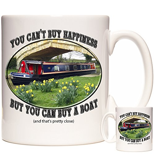 Narrow Boat Mug, You Can't Buy Happiness But You Can Buy A Boat Mug. The Mug for Anyone who Loves Canal Boats.