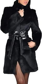 Giubotto Donna Invernali Manica Lunga Collo Coreana Slim Fit Taglie Comode Pelliccia Finta Cappotto Eleganti Monocromo Hot Addensare Vintage Fashion Cappotti Giacca di Pelliccia Giaccone Cintura