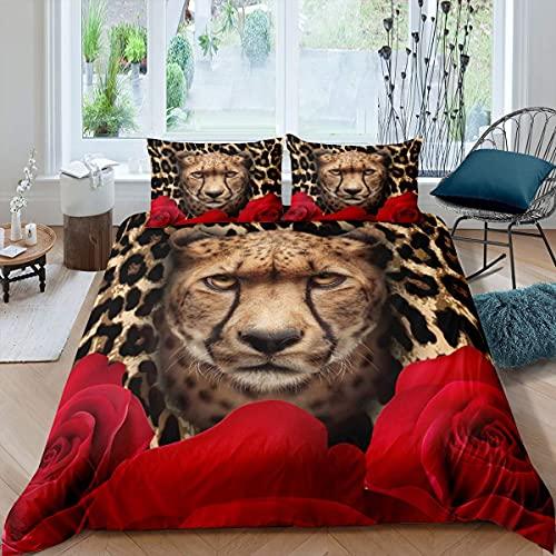 Juego de ropa de cama para niños y adultos, funda de edredón de flores de rosa roja, funda de edredón y 2 fundas de almohada, microfibra suave, diseño de animales africanos, color marrón