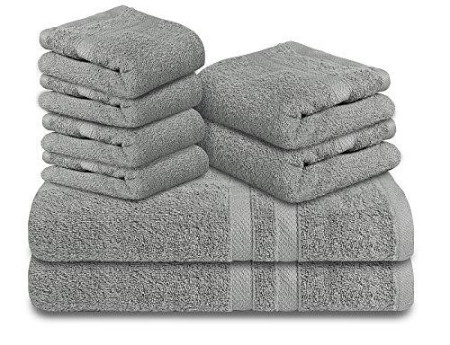 TOALLA 100% Cotton Bath Towel Set of 8-Bath Towel Set Taupe-Bath Towel 30x54(2Pc)-16x28 Hand Towels(2Pc)-Wash Clothes 12x12(4Pc)-Soft Absorbent Towel Set-Luxury Towel Set-650 GSM Ring Spun