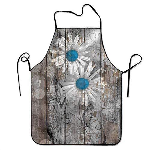Wistty Margarita Blanca en Azul Delantal Ajustable de Madera para jardín de Cocina Cocina Asar a la Parrilla Mujeres 's Hombres' s Gran Regalo para Esposa Damas Hombres Novio