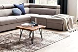 WOHNLING Design:ouchtisch MAHILO Massivholz Tisch Baumkante 56 x 38 x 51 cm | Sheesham Holztisch mit Metallbeinen | Wohnzimmertisch im rustikalen Landhausstil - 3
