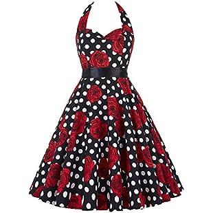 Yafex Vintage 1950s Floral Halterneck Retro Pin Cocktail Dresses Audrey Hepburn Style  Medium Black Red:Hashflur
