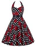 Paul Jones Women's Halter Vintage Swing Ball Dress Color D(M)