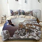 Juego de funda nórdica beige, vista aérea de águila calva volando en el gran cañón cubierto de nieve, Rocky Arizona, EE. UU., Juego de cama decorativo de 3 piezas con 2 fundas de almohada Easy Care An