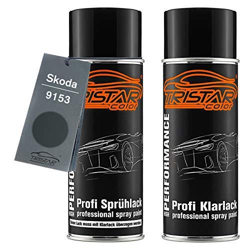 TRISTARcolor Autolack Spraydosen Set für Skoda 9153 Anthracite Grey Metallic Basislack Klarlack Sprühdose 400ml