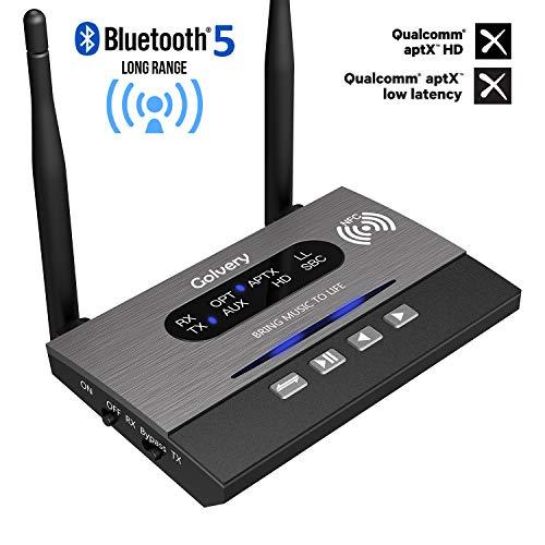 Golvery Adattatore audio wireless 3-in-1 per trasmettitore / ricevitore / bypass a lunga distanza Bluetooth 5.0 per TV Sistema audio stereo domestico,