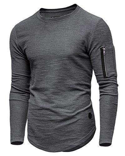 Ombre-Eight Herren Oversize Sweatshirt Longline Pullover O-203 [Dunkelgrau, S]