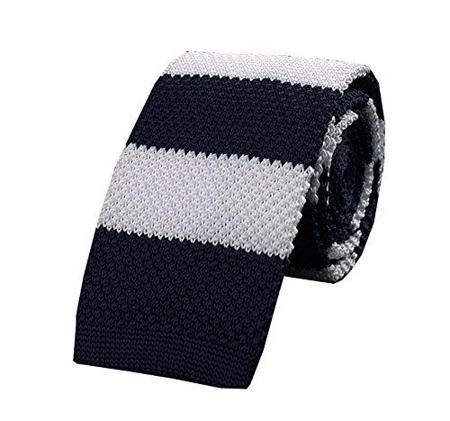 Wookki Cravate Tricot Slim Mince 6 CM En Maille Pour Anniversaire Costume Chemise Travail Fête Cérémonie Noël Business Ecole Ajustable Homme Jeune Gar