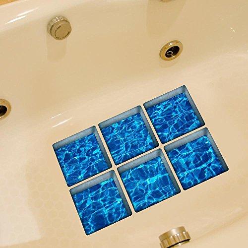 LXPAGTZ Personalidad de pasta 3D baño creativo y durabilidad resistente a las manchas HD mar agua resistente al calor del baño impermeable antideslizante bañera de adhesivo auto adhesivos sola
