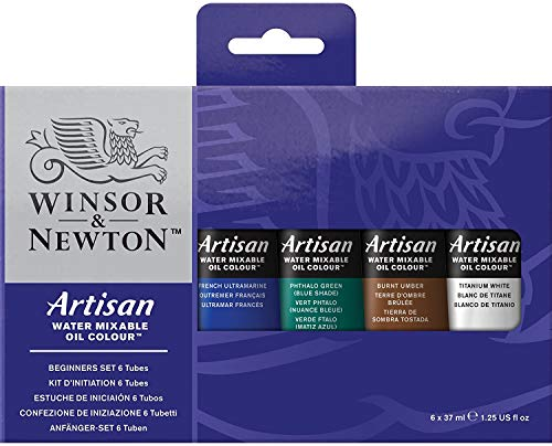 Winsor & Newton Artisan Water-Mixable Oil Colors, Assorted Colors, Set of 6,1.25 oz