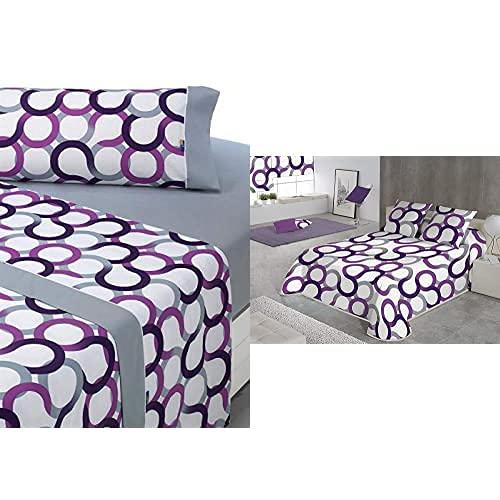 Sabanalia - Juego de sábanas Estampadas Aros (Disponible en Varios tamaños y Colores), Cama 90, Lila + Aros Colcha Estampada, Lila, Cama 90