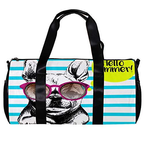 Bolsa de deporte redonda con correa de hombro desmontable Bulldog francés con gafas de sol con rayas cerúleas, bolso de entrenamiento para mujeres y hombres