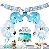 FORMIZON Decoraciones Baby Shower para Niño Niña, Banner de Fiesta de Bebé, Globos de Papel de Elefante y Globos de Látex, Decoración de Baby Shower para Fiesta de Revelación de Género (Azul)