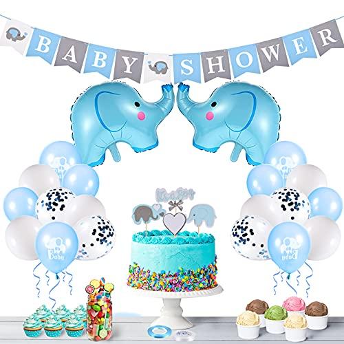 FORMIZON Decoraciones Baby Shower para Niño, Banner de Fiesta de Bebé, Globos de Papel de Elefante y Globos de Látex, Decoración de Baby Shower para Fiesta de Revelación de Género(Azul)
